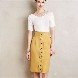 Anthropologie Maeve Ada Button Front Pencil Skirt